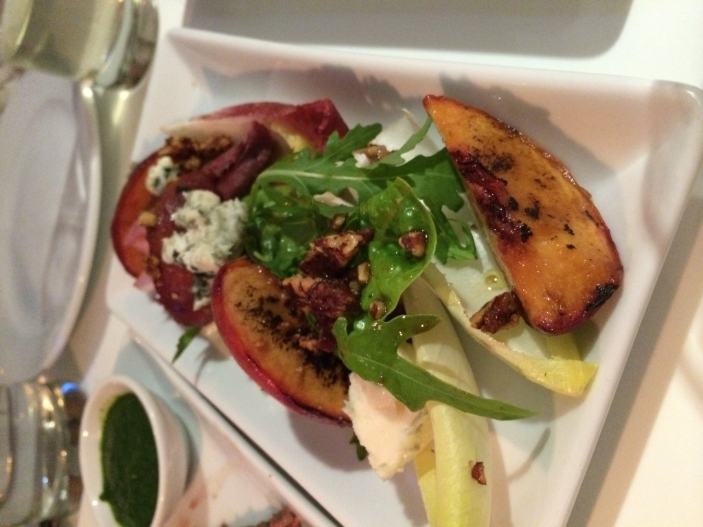 Caramelised candid peaches, chunks of Roquefort