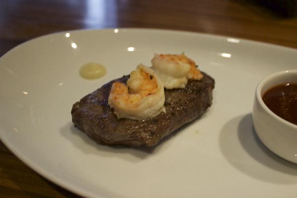 USDA feather steak and prawns