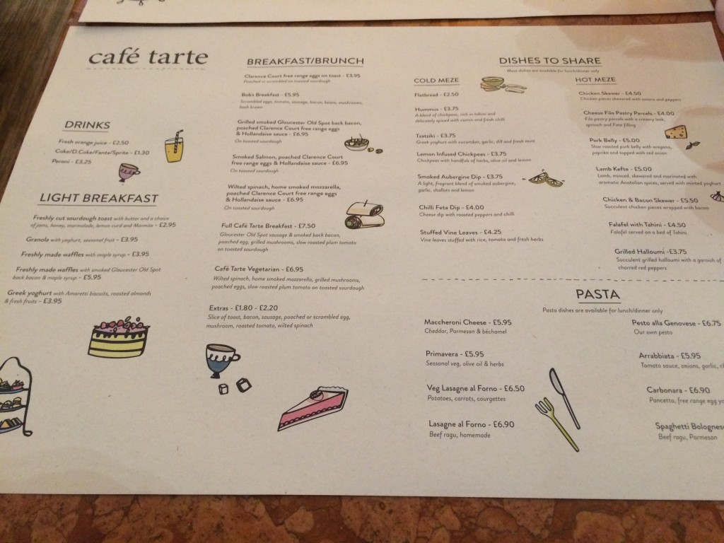 Cafe Tarte menu
