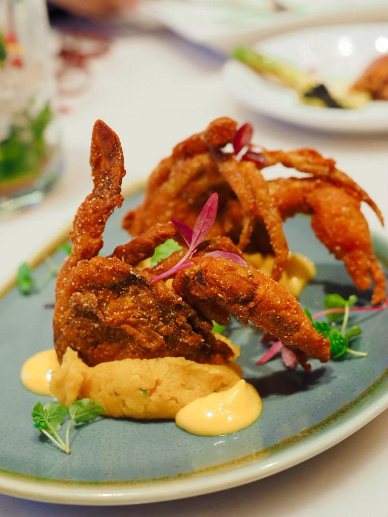 Amritsari Softshell Crab, Tadka Mayonnaise & Tamarind King Edward Potato