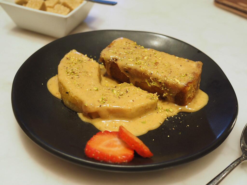 Tandoor Pineapple, Pistachio Crumb & Saffron Cream