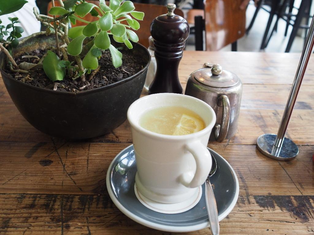 Housemade hot lemon honey ginger drink