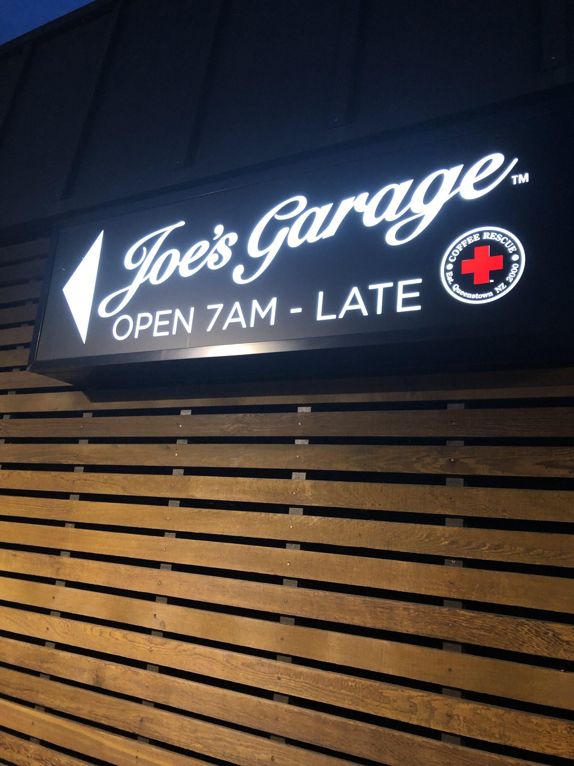 Joes Garage queenstown sign