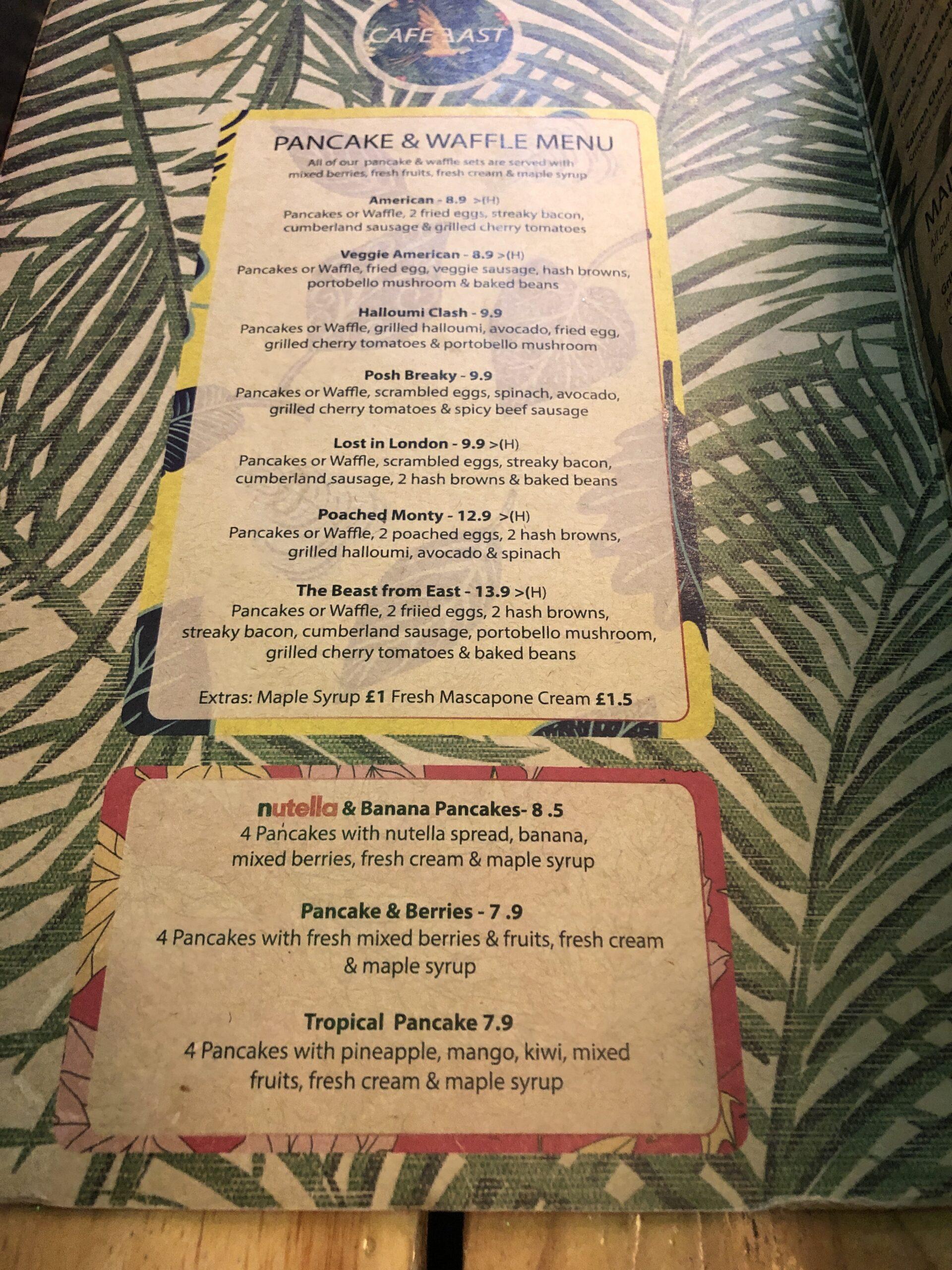 Cafe East Pancake and waffles menu