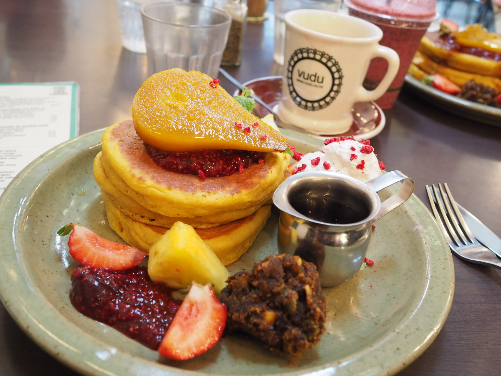 Vudu cafe Larder buckwheat orange zest pancakes
